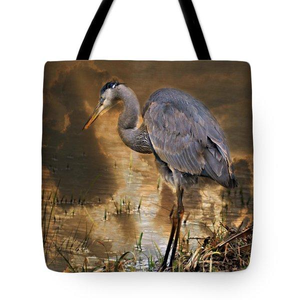 Heron Bronze Tote Bag by Marty Koch
