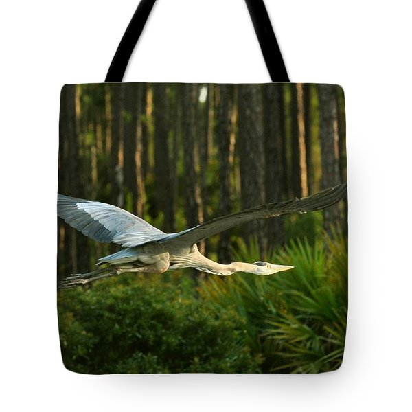 Tote Bag featuring the photograph Heron In Flight by Rick Frost