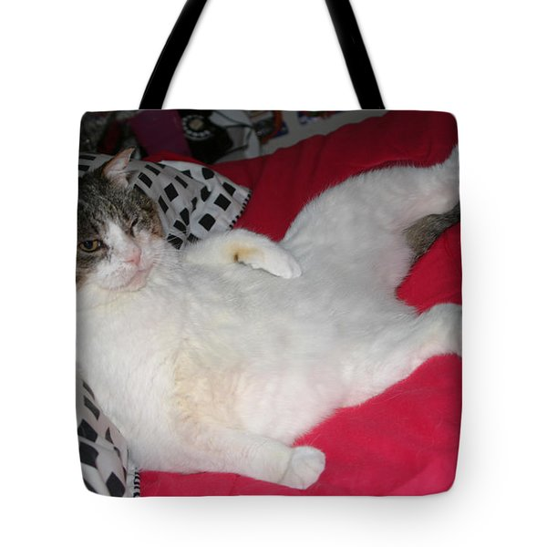 Hey Hey I'm Relaxing Here Tote Bag by Kym Backland
