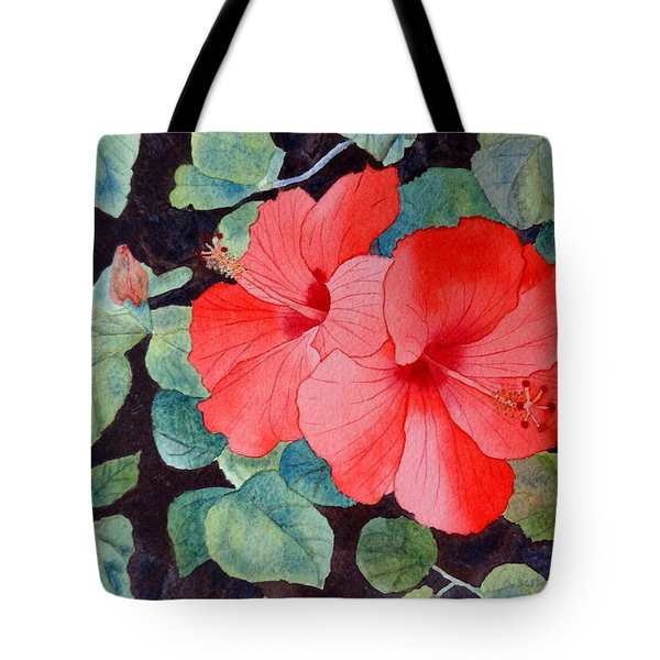 Tote Bag featuring the painting Hibiscus by Laurel Best