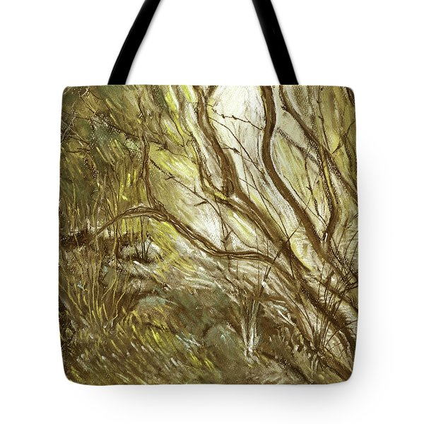 Hideaway Plants In Brown Yellow And Green Branches Leaves Trunks Stones Tote Bag by Rachel Hershkovitz