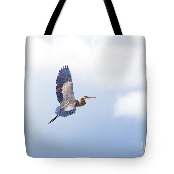 High Flying Blue Heron  Tote Bag by John  Kolenberg