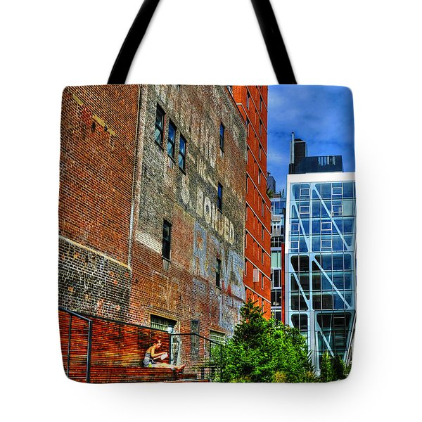 High Line Park Scene Tote Bag by Randy Aveille