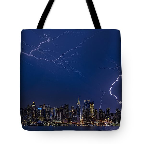 High Voltage In The  New York City Skyline Tote Bag by Susan Candelario