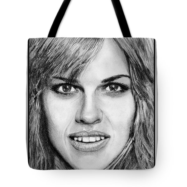 Tote Bag featuring the drawing Hilary Swank In 2007 by J McCombie