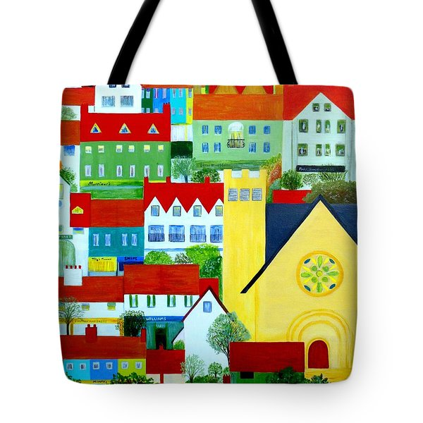Tote Bag featuring the painting Hillside Village by Barbara Moignard