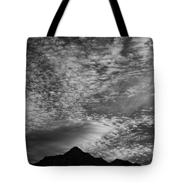 Himalayan Sky In Black And White Tote Bag by Don Schwartz