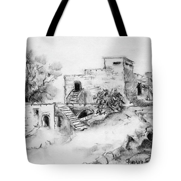 Hirbe Landscape In Afek Black And White Old Building Ruins Trees Bricks And Stairs Tote Bag by Rachel Hershkovitz