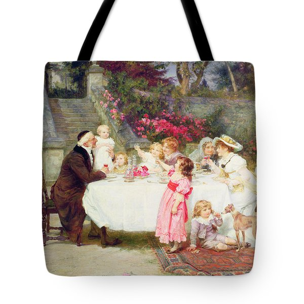 His First Birthday Tote Bag by Frederick Morgan