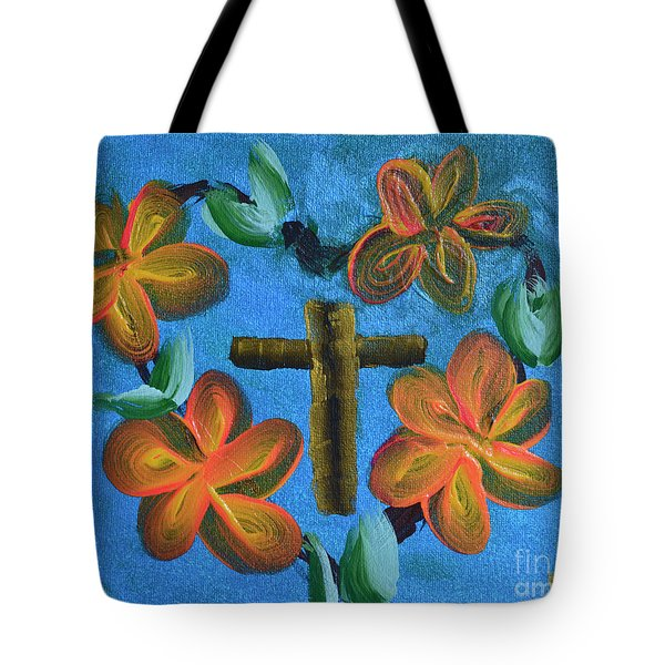 Tote Bag featuring the painting His Love For Us by Donna Brown