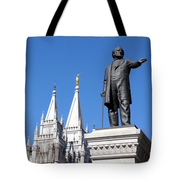 Historic Salt Lake Mormon Lds Temple And Brigham Young Tote Bag by Gary Whitton