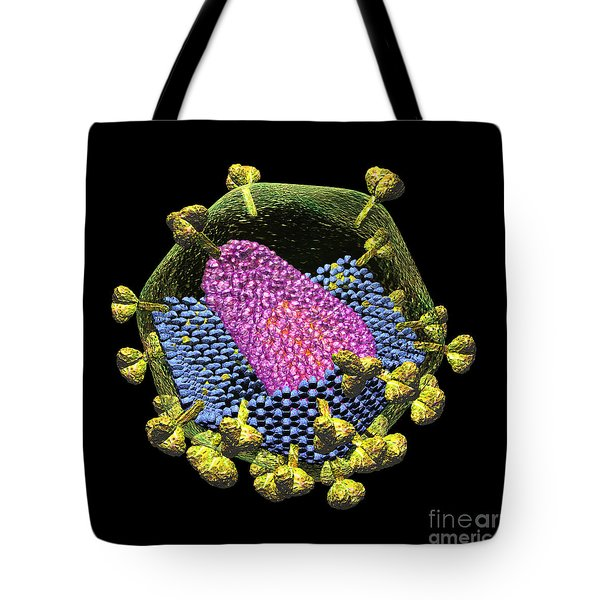 Hiv Structure On Black Tote Bag by Russell Kightley