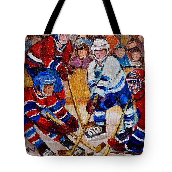 Hockey Game Scoring The Goal Tote Bag by Carole Spandau