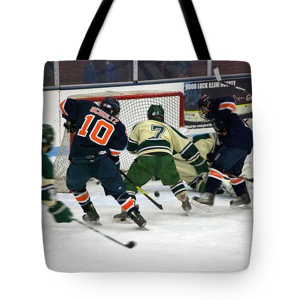 Hockey Two On Two Tote Bag by Thomas Woolworth