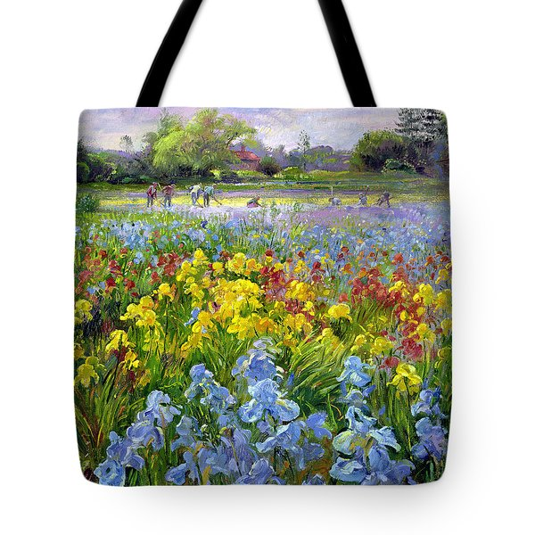 Hoeing Team And Iris Fields Tote Bag by Timothy Easton