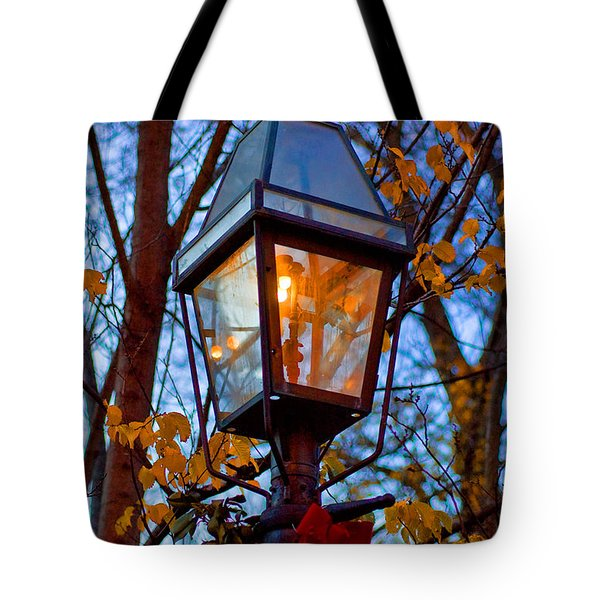 Holiday Streetlamp Tote Bag by Joann Vitali