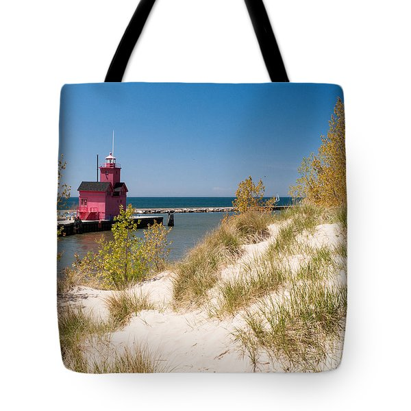 Tote Bag featuring the photograph Holland Mi Lighthouse by Larry Carr