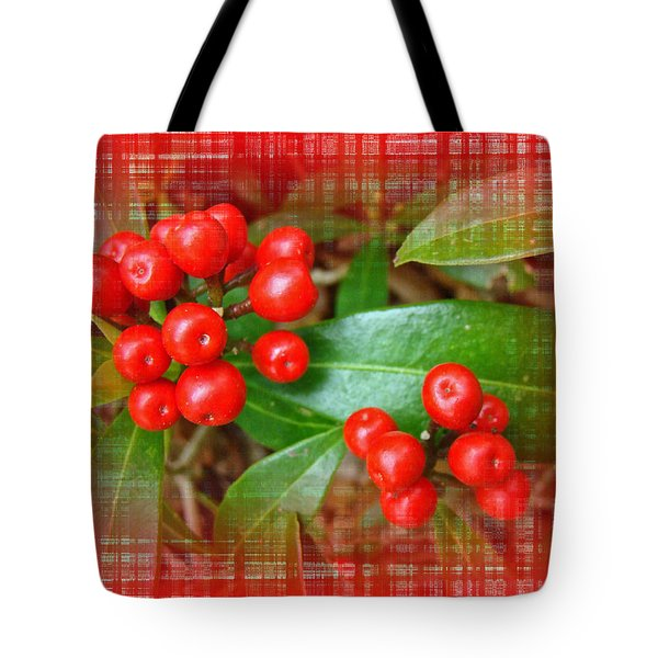 Holly Berries Tote Bag by Mother Nature