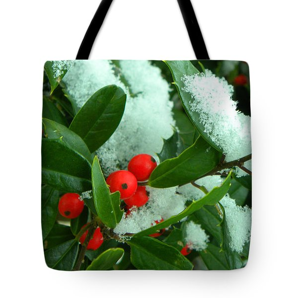Holly In Snow Tote Bag by Sandi OReilly