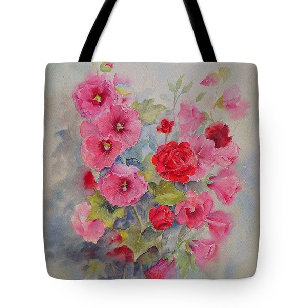 Tote Bag featuring the painting Hollyhocks And Red Roses by Beatrice Cloake