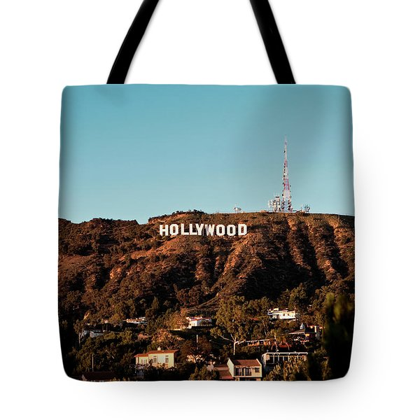 Tote Bag featuring the photograph Hollywood Sign At Sunset by Lorraine Devon Wilke