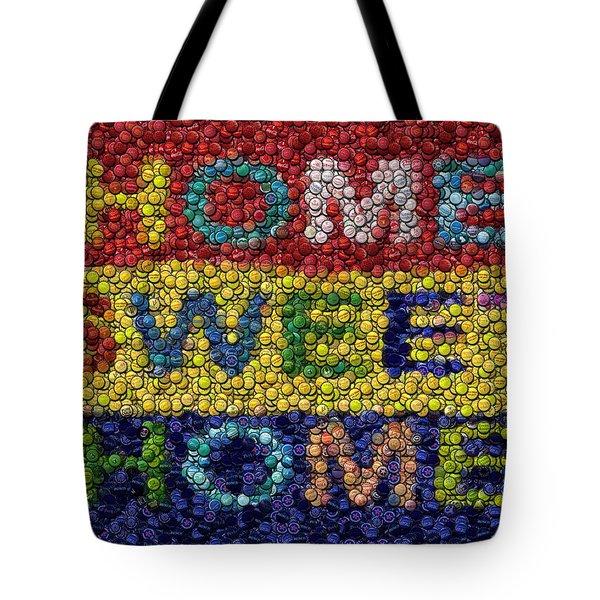 Home Sweet Home Bottle Cap Mosaic  Tote Bag by Paul Van Scott