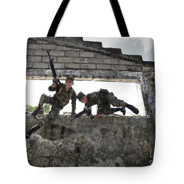 Honduran Army Soldiers Perform Building Tote Bag by Stocktrek Images