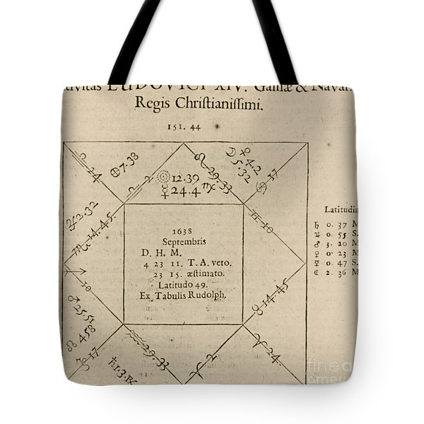 Horoscope Chart For Louis Xiv, 1661 Tote Bag by Science Source