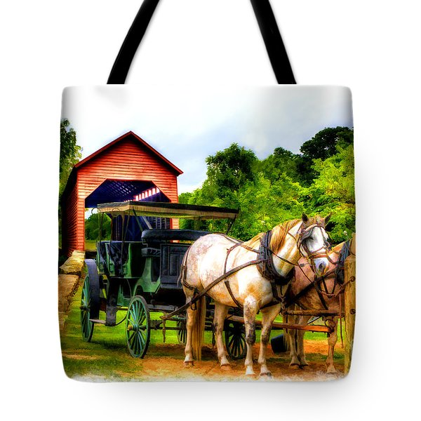 Horse And Buggy In Front Of Covered Bridge Tote Bag by Dan Friend
