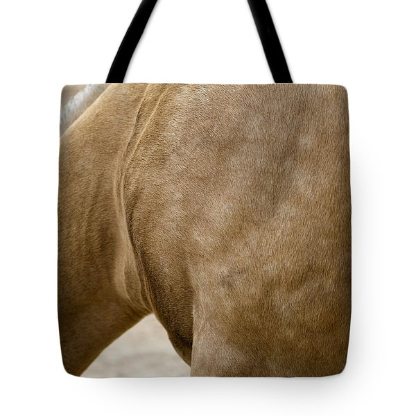 Tote Bag featuring the photograph Horse Bending Neck by Lorraine Devon Wilke