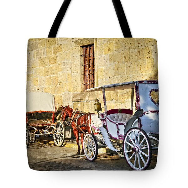 Horse Drawn Carriages In Guadalajara Tote Bag by Elena Elisseeva