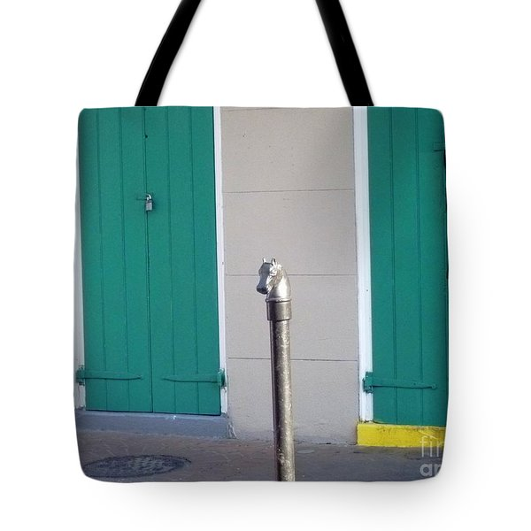 Tote Bag featuring the photograph Horse Head Post With Green Doors by Alys Caviness-Gober