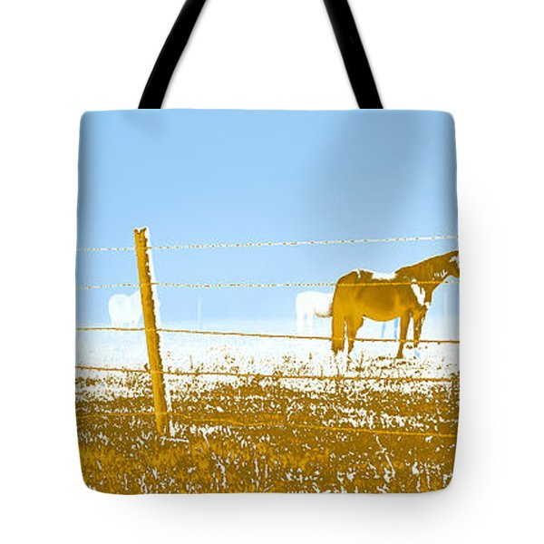 Horse Pasture Revblue Tote Bag by Paulette B Wright