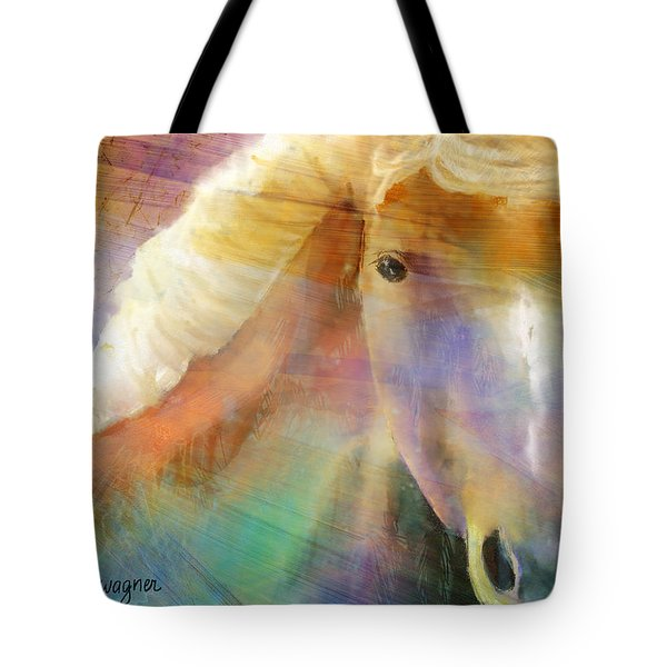 Horse With The Golden Mane Tote Bag by Arline Wagner