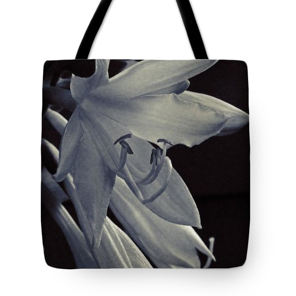 Hosta Flower In Bw Tote Bag