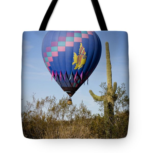 Hot Air Balloon Flight Over The Lush Arizona Desert Tote Bag by James BO  Insogna