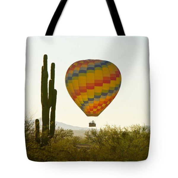Hot Air Balloon In The Arizona Desert With Giant Saguaro Cactus Tote Bag