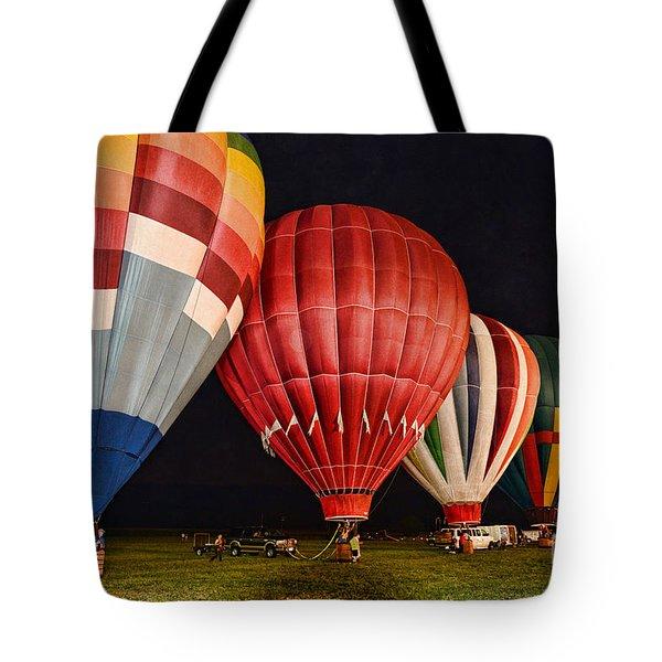 Hot Air Balloons Night Launch Tote Bag