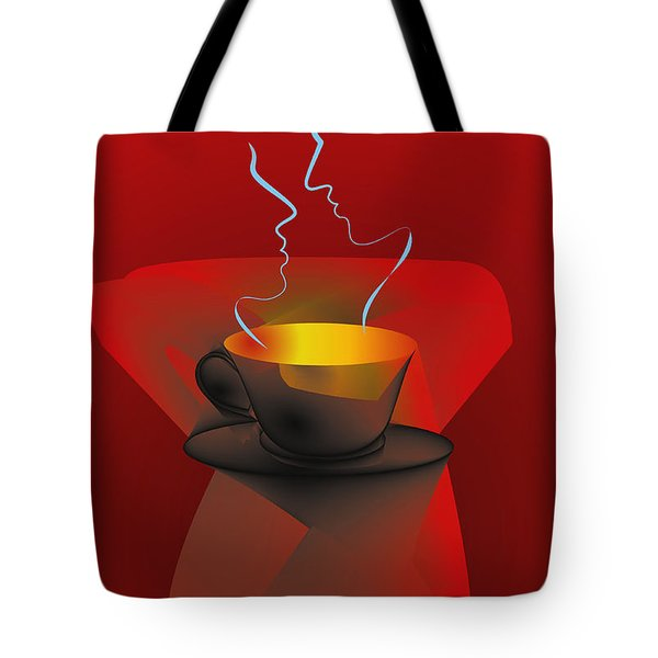 Tote Bag featuring the digital art Hot Coffee by Leo Symon