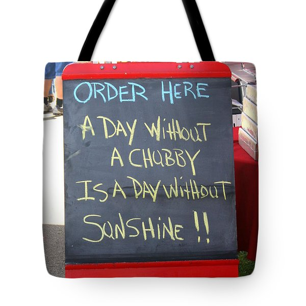 Tote Bag featuring the photograph Hot Dog Stand Humor by Kay Novy