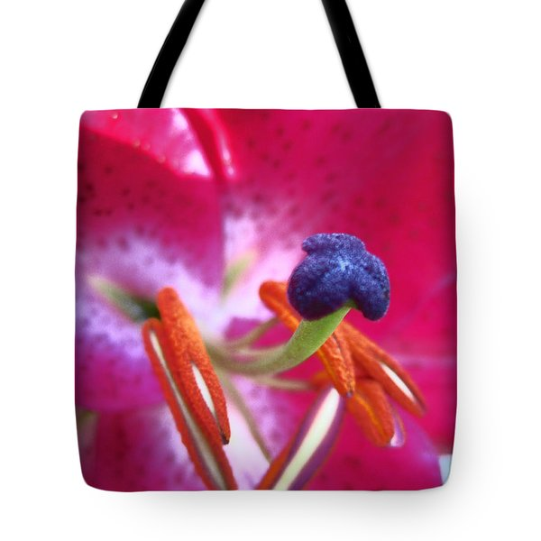 Hot Pink Lilly Up Close Tote Bag by Kym Backland