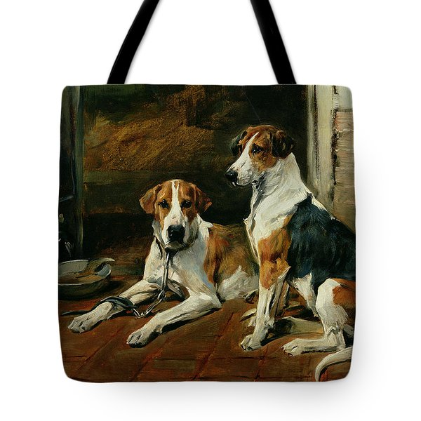 Hounds In A Stable Interior Tote Bag by John Emms
