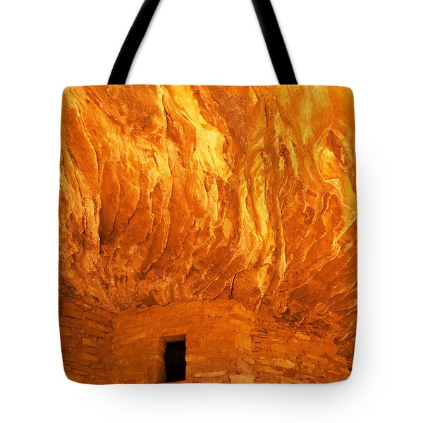 House On Fire Ruin Portrait 3 Tote Bag by Bob and Nancy Kendrick