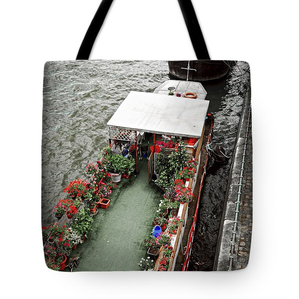 Houseboats In Paris Tote Bag by Elena Elisseeva