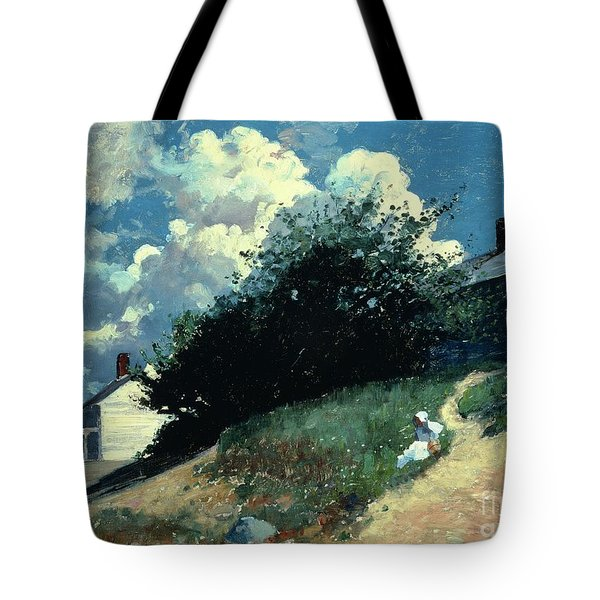 Houses On A Hill Tote Bag by Winslow Homer