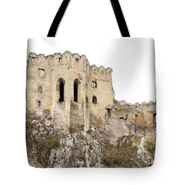 Tote Bag featuring the photograph Hrad Beckov Castle by Les Palenik