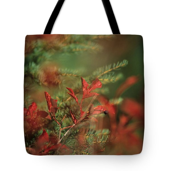 Huckleberry Leaves In Fall Color Tote Bag by One Rude Dawg Orcutt
