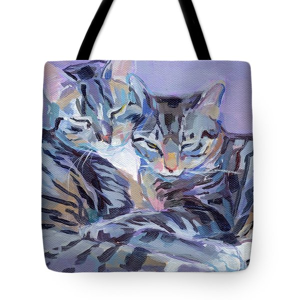 Hugs Purrs And Stripes Tote Bag by Kimberly Santini
