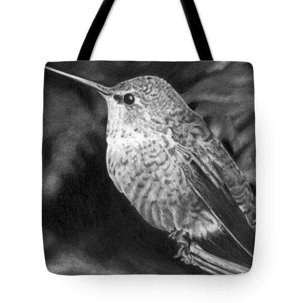 Tote Bag featuring the drawing Hummingbird by Ana Tirolese