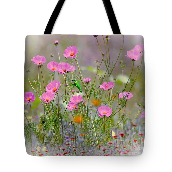 Hummingbird In The Cosmos Tote Bag